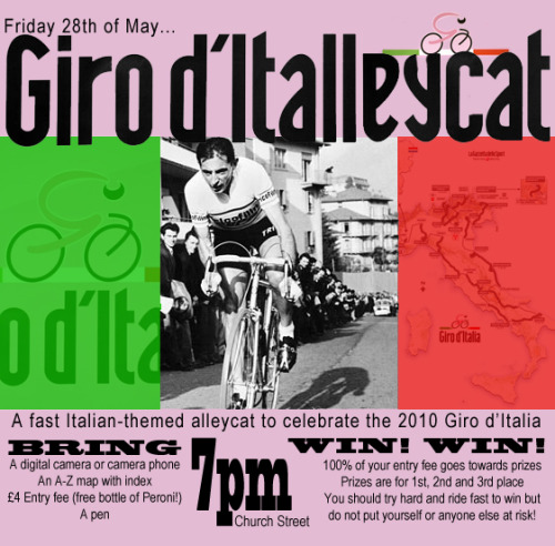 This Friday in Birmingham!  Giro-themed alleycat race.  Found on Spinwell.