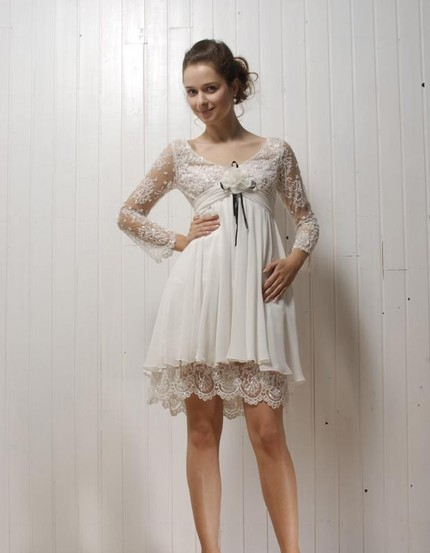 Lace and Chiffon Short Wedding Gown with by bridalblissdesigns