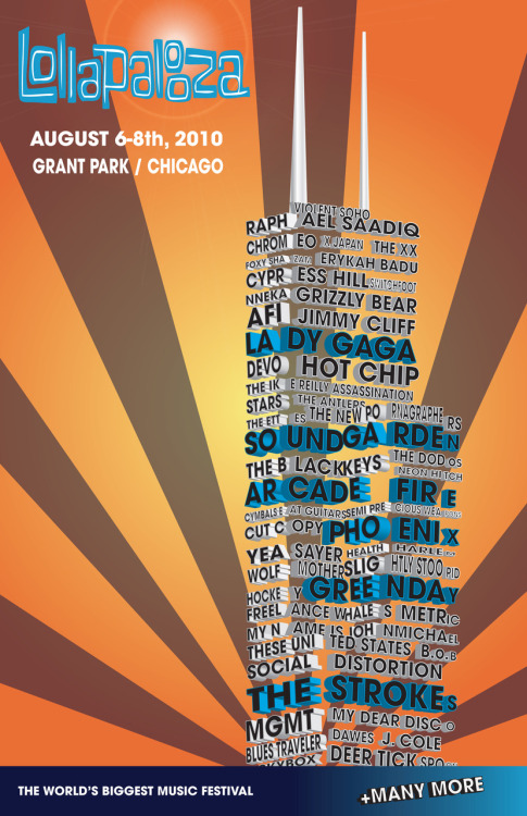 Poster design for Lollapalooza 2010.  Created in Adobe Illustrator. 11 x 17 (300 dpi)