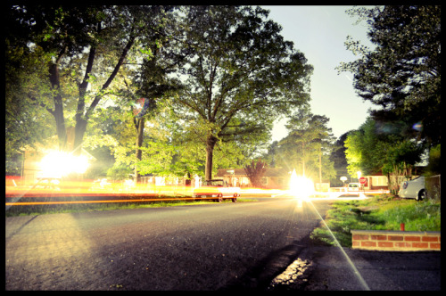 "thekxsproject:  Omega Rd, Henrico VA Long exposure night shot.f.45, ~4' (328.2"") shutter."