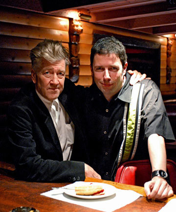 David Lynch and producer Charles de Lauzirika on the set of A Slice of Lynch, a conversation filmed for the Twin Peaks Gold Edition Box Set.
