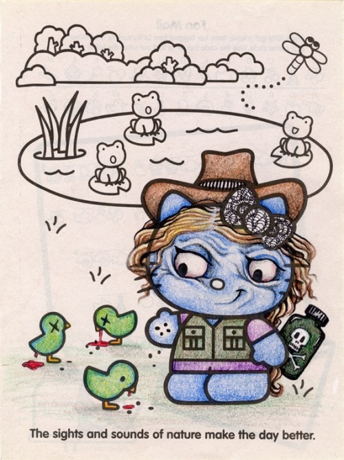 isitdank: Colorhalo received a Hello Kitty coloring book along with a 24-pack of Crayola  crayons in my stocking this year. Santa and their mother may disapprove,  but here is what came of it….