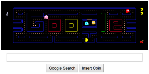 stefaniesays:  You can actually play Pac-Man right now on Google's homepage. God bless the internet.  omg you can have two players (arrow keys and WSAD) just insert another coin
