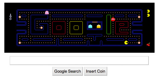 "matthewkrawse:  Google logo themes usually make me smile… this one went above and beyond. I dig how they not only decided to integrate the logo into the Pac Man game UI but also made it fully functional! The best part: instead of the ""I'm Feeling Lucky"" button… it's an ""Insert Coin"" button that reloads the game. The little things are what make stuff like this awesome."