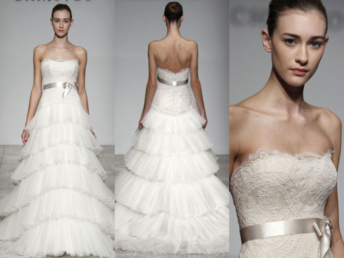 Christos Bridal - J' Adore This is the J' Adore French Corded Lace and Tulle. Strapless dropped waist gown with lace  bodice and tiered pleated tulle skirt.Available in Ivory as sampled.
