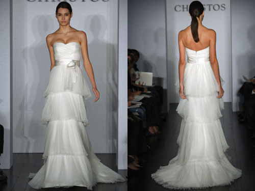 Christos Bridal - Gracia The Garcia Pleated Tulle. Strapless pleated Tulle A-line gown with sweetheart  neckline and tiered skirt.Sash accents natural waist. Available in  Ivory as sampled.