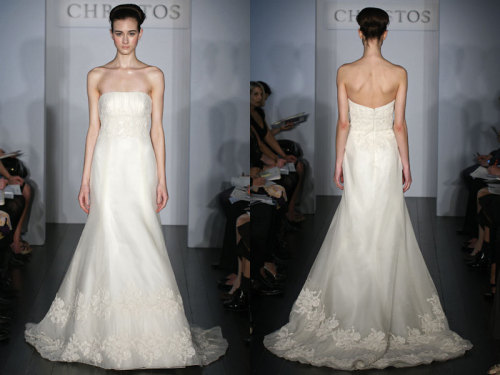 Christos Bridal - Ainsley The Ainsley Alençon Lace/Silk Organza.  Strapless Organza A-line gown with beaded  Lace and pleated Tulle embellishment on bodice and hem.