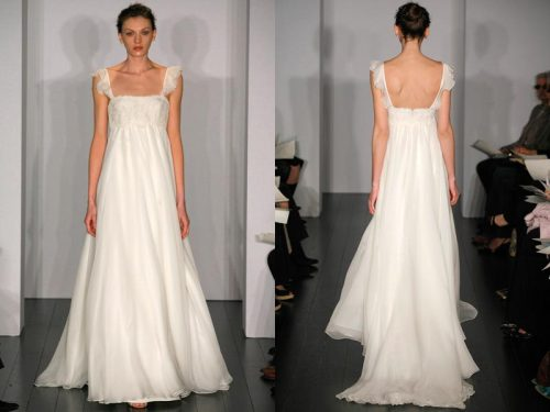 Christos Bridal - Felicity The Felicity Silk Chiffon baby doll gown with Alençon lace bust and flutter cap  sleeves.