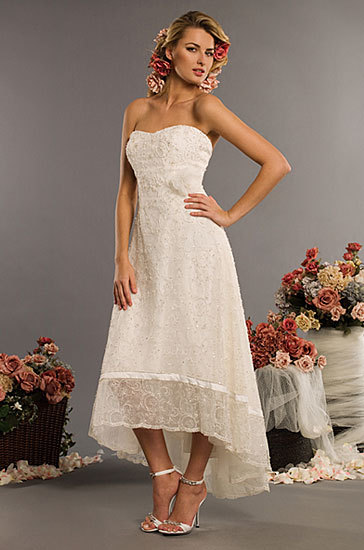 Eden Bridals Modern strapless mini-dress featuring an all over lace overlay that has  been delicately beaded throughout and accented at the them with hand  made embroidered ribbon.