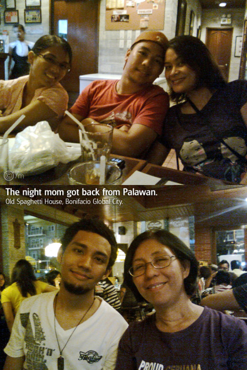Family dinner when mom got back from Palawan. 21 May 2010