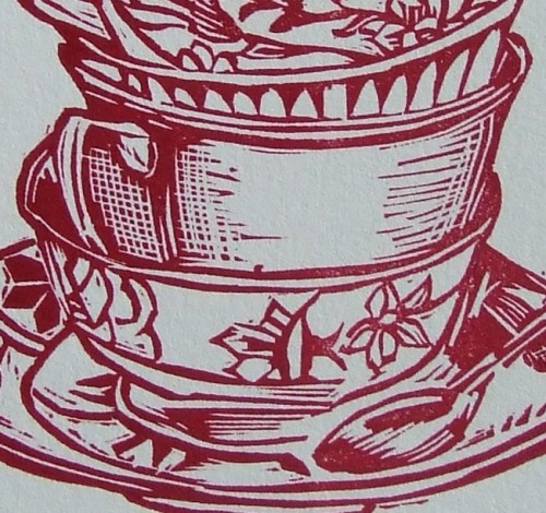 letterpress linocut teacup stack  printed on 100% cotton rag paper available for sale at http://www.etsy.com/shop/rubyvictoria