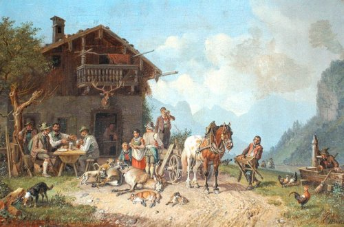 """After the Hunt"" (circa 1830) by Heinrich Buerkel"