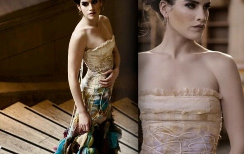 Wedding Dresses by Wai-Chilg Clothing » Manolo for the Brides The Zolotova uses satin rope to add interest to pleated silk chiffon in  old fashioned cream and modern greenish blue.