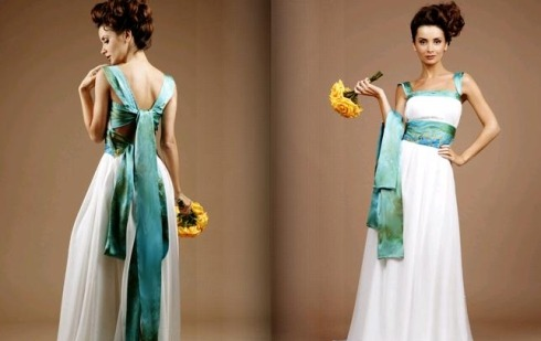 Wedding Dresses by Wai-Chilg Clothing » Manolo for the Brides And the Athena features pleated silk chiffon layered over charmeuse. The  vividly-hued back ties serve double duty as a sash.