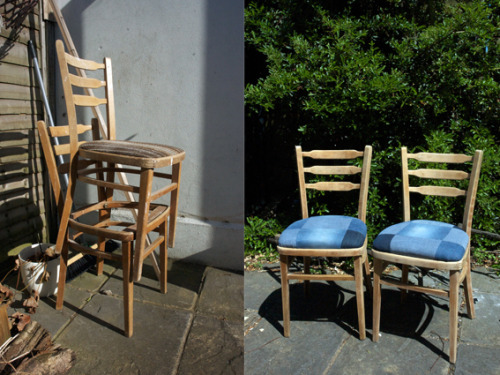discarded chairs from a local lady, now sanded back, newly cushioned and covered in my mums old jeans (thanks mum!!)