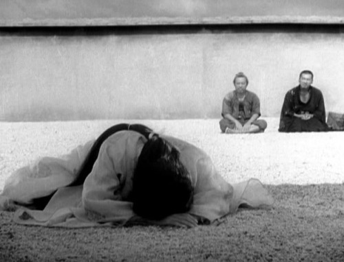 "Rashomon (1950,  dir. Akira Kurosawa) ""[The three  assistant directors on Rashomon] found the script  baffling and wanted me to explain it to  them. 'Please read it again  more carefully,' I told them. 'If you read  it diligently, you should be  able to understand it because it was  written with the intention of  being comprehensible.'  But they wouldn't  leave. 'We believe we have  read it carefully, and we still don't  understand it at all; that's why  we want you to explain it to us.'  For  their persistence I gave them  this simple explanation: 'Human  beings are unable to be honest  with themselves about themselves. They  cannot talk about themselves  without embellishing. This script portrays  such human beings–the kind  who cannot survive without lies to make them  feel they are better  people than they really are. It even shows this  sinful need for  flattering falsehood going beyond the grave—even the  character who dies  cannot give up his lies when he speaks to the living  through a medium.  Egoism is a sin the human being carries with him from  birth; it is the  most difficult to redeem. This film is like a strange  picture scroll  that is unrolled and displayed by the ego. You say that  you can't  understand this script at all, but that is because the human  heart  itself is impossible to understand. If you focus on the  impossibility  of truly understanding human psychology and read the  script one more  time, I think you will grasp the point of it.'"" -Akira Kurosawa, excerpted from Something Like an Autobiography"