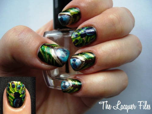 nailcrazy:  lacquerfiles:  Peacock Nails!