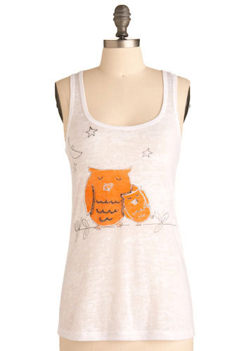 Owl Always Love You Tank.  This sweet tank top ($22) promises you a lifetime of comfort and cuteness. In a super soft cotton-blend burnout, this darling tank will soothe your fashion fears like the knowing smile of a longtime friend, while its easy racerback cut, scoop neck, and the precious print of two cuddly orange owls, a crescent moon, and stars reminds you that love is 'owl' you need. From Modcloth.
