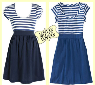 Check out these adorable nautical dresses from Old Navy and Delias. I love blue and white stripes.