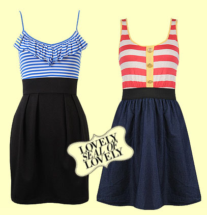 Check out these adorable dresses which are a great twist on the nautical look.