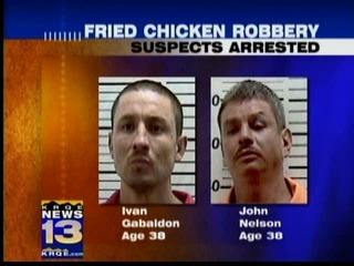 "Two Men Nabbed in Fried Chicken Heist Maybe it's just me, but when hungry and short of cash, it seems Plan A should be ""root around in the couch for loose change,"" not ""pick up a wooden club and threaten KFC workers for a Variety Bucket."""
