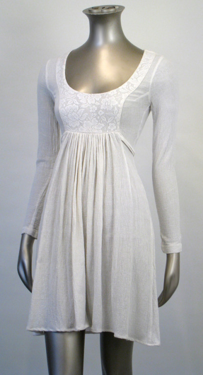 70s Boho Wht Gauze Empire Hippie Wedding Mini Dress XS | Market Publique