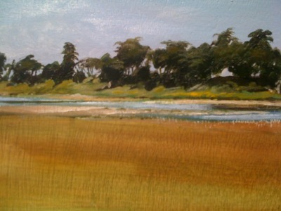 "North Jetty Lagoon, Moss Landing Oil on panel 7""x12"""