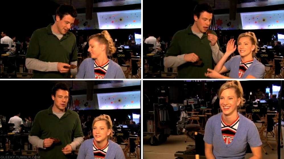 Cory: Do you want some jerky? Heather: Hm, no thank you. Cory: K. It's really good. Heather: This is my friend Cory. Cory: Hi. Heather: He's an actor, if you didn't know. Cory: Yup. —— Heather: He's kind of obsessed with me. It's okay. *laughs*