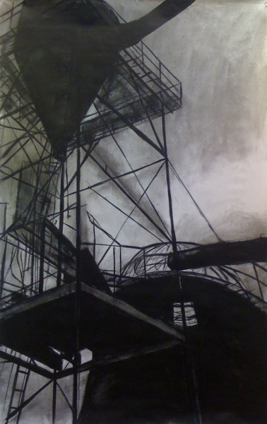"Sawdust Burner  Charcoal and acrylic on un-stretched canvas 40""x60"""