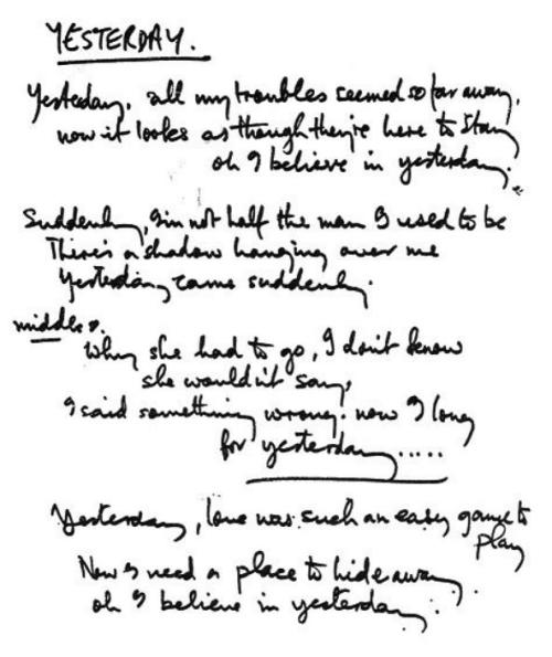 iquitelikethebeatles:  original handwritten lyrics for yesterday