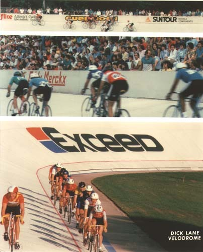 Racing at Dick Lane Velodrome in the 80's.  Look at all those spectators!  From what I'm hearing from John at TwoToneATL, the crowd at DLV race days are almost to that level again.  Track racing is blowing up!  From Jeff Hopkins's collection of DLV History on Flickr.