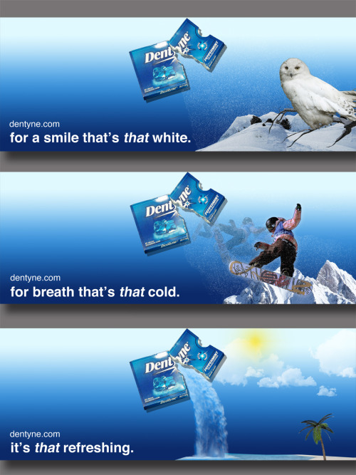 Mockups for Dentyne transit ads. 10 x 27. 300 DPI Three transit ads (inside or outside train or bus) for the Dentyne campaign.