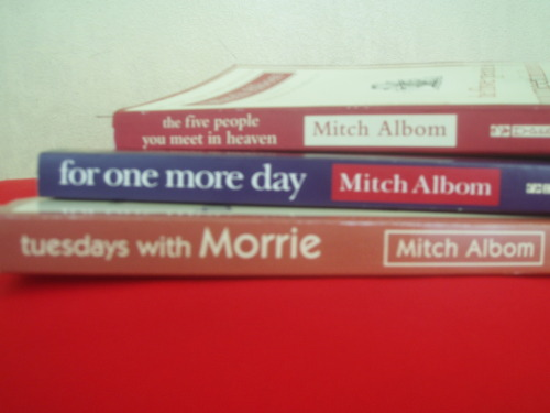 Yes, I have these books. I love Mitch Albom soooooooooooooo much. I'm currently reading For One More Day; and my last Mitch Albom book to read. Who's in here have good books? Borroooooooooow :)