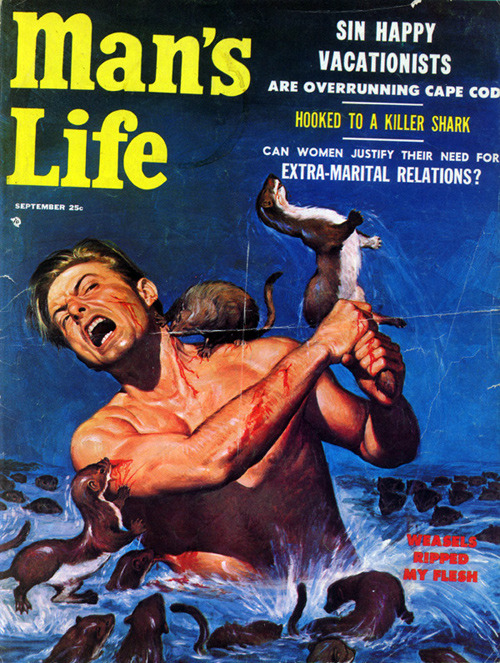 harharhar:  Weasels ripped my flesh!  I have two giant books of these pulp mag covers… they're so amazing! I can't help but laugh hysterically at the most sexist, racist, homophobic ridiculous bullshit I've seen in my life, THEN dripping machismo craziness on top of it!!!  What a world. *whew. Can't believe this stuff is only 30-40 years away from us.