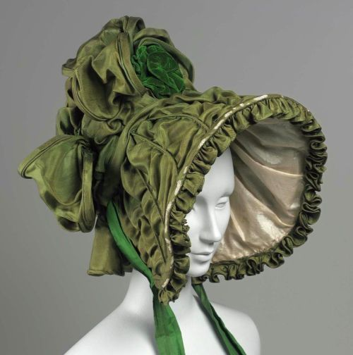 A rare surviving example of the huge bonnets of the 1830s.