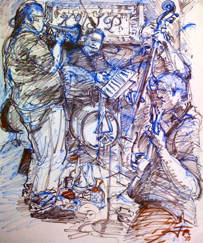 "Michael Vlatkovitch Quartet Live at KUSP Marker on Paper  24""x32"" This was drawn while the Quartet played all original compositions by Michael, live on Larry Blood's ""Out Front Out Back"" Jazz show at KUSP Radio in Santa Cruz, May 17th, 2010."