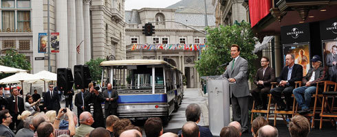 "Universal Studios unveils rebuilt N.Y. Street backlot | THR As Universal Studios unveiled its rebuilt New York Street backlot Thursday, testimonials were offered to the firefighters who extinguished the 2008 inferno that razed the place and to the location's role in lighting up the local economy.""This is great for job creation,"" California Gov. Arnold Schwarzenegger said. ""It's about jobs, jobs, jobs.""Schwarzenegger stood on a stage on a corner of New York Street along with Steven Spielberg, Universal Studios president Ron Meyer, Los Angeles Mayor Antonio Villaraigosa and other city and studio officials as they unveiled the 13-city-block area that was rebuilt for $200 million.  Tons of High Res Images from the New Universal Studios New York Backlot – Plus Watch a Video of the New Tour 