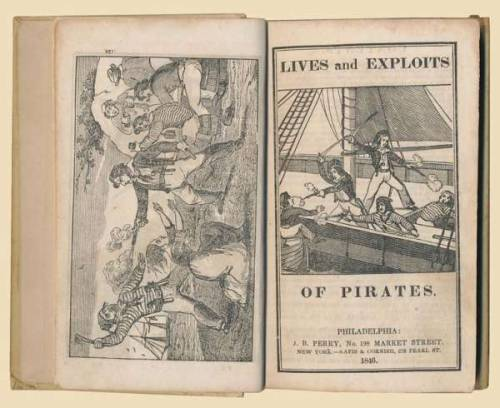 Lives and exploits of pirates Brooke, Henry K.  Philadephia, J.B. Perry & New York, Nafis & Cornish, 1846. Later boards with the illustrated title (of the original wrappers) pasted to the front cover. Title with large woodcut illustration of pirates fighting on a ship, 4 full-page woodcut plates of fighting pirates on pp. 147, 159, 173 and 213  (2 of which, p. 159 and 173, are repeated on the recto and verso of a leaf bound before the title), 2 smaller wood engravings and 8 vignettes in text. 121 pp., paginated as follows: (4), pp. 107-216.  A very rare pirate book - the second of three editions: 1841, 1846 and 1847 -, containing twelve vividly illustrated short stories on the lives and exploits of pirates. According to World Cat our edition is only present in one library. Included are accounts of the pirate captains Roche, Low, Teach alias Black beard, Charles Vane, John Rackman, and Roberts, the female pirates Mary Read and Anne Bonney, the pirates Charles Gibbs & Thomas Wansley, the History of the capture of the brig Mexican by the Sanish pirates, A brief narrative of the Africans on board of the Schooner Amistad, and the burning of the Caroline.  via Antiquaraat Forum