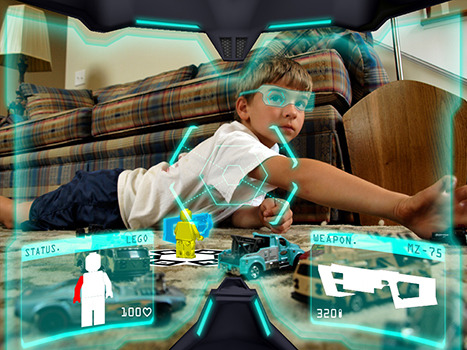 My mind is just working.. spime:  Augmented Reality Toys is a prototype, asking the question how we might play if wearing a head mounted AR viewer device.