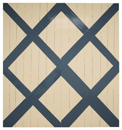 Gary Hume Blue 'n Cream Barn Door2009Enamel on aluminumEach:  111 1/8 x 52 1/8 inches; 282 x 132 cmOverall: 111 1/8 x 104 1/4  inches; 282 x 265 cm