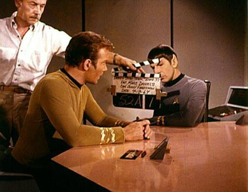 William Shatner and Leonard Nimoy on the set of Star Trek