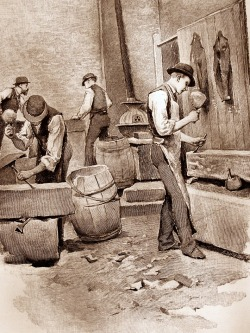 """In the Stone-Cutting Room"" / photograph of a vintage engraving from ""The Need of Trade Schools"" by Richard T. Auchmuty / Illustrations by Irving R. Wiles / November 1886 Originally Posted: http://www.flickr.com/photos/mamluke/3829462419/"