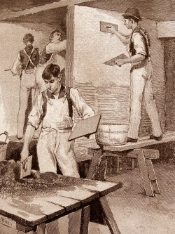 "Plastering / photograph of a vintage engraving from ""The Need of Trade Schools"" by Richard T. Auchmuty / Illustrations by Irving R. Wiles / November 1886 Originally Posted: http://www.flickr.com/photos/mamluke/3829462721"
