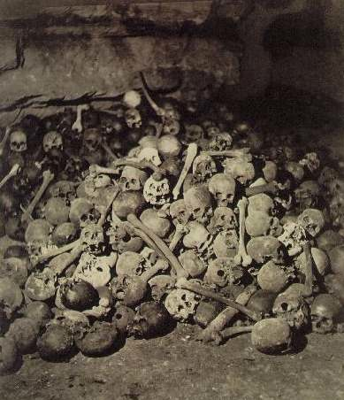 kvetchlandia:  Nadar    The Parisian Catacombs     c.1860