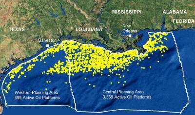 "totes:  jstn:  NOAA map showing 3,858 oil platforms along the gulf coast as of October, 2006.  Katrina and other hurricanes sank or otherwise disabled over 100 of them the year before. I was surprised to see how many there were, but I guess I shouldn't have been.  Prior to this calamity my two main sources of knowledge regarding oil production were There Will Be Blood and certain scenes from Armageddon.  I've been trying to acquaint myself with some actual data. I learned that we rank third in oil production in the world and that a third of our production happens off shore.  We account for about a quarter of world consumption and a tenth of production (behind Saudi Arabia and Russia).  Almost half our supply is used to make gasoline.  BP is the fourth biggest company in the world but the third biggest oil company after Shell and Exxon. I was horrified to read about another spill that happened earlier this month in Nigeria that seems to be amongst the worst ever and has yet to receive much media attention at all.  That's apparently par for the course there. The Exxon Valdez is 31st in the world ranking of all time oil spills, and since it happened it's become the ""Library of Congress"" to which all other spills are inevitably compared.  This is quite useful because frankly there's too many units available for talking about oil and it seems like every news source uses a different one.  Wikipedia has tonnage but the American media generally prefers gallons, and the oil industry itself uses barrels.  It's difficult to compare and contrast the horror without converting to a common base.  One ""Exxon Valdez"" is reasonable shorthand for ""enough oil to fuck shit up"". The exact quantities are always fuzzy, of course.  The NY Times reports a range of anywhere from two and a quarter Exxon Valdezes all the way up to nine for the Gulf so far, and that's under the glare of the American public.  The one in Nigeria was supposedly two and half, but who knows.  The US produces 19.5 EVs every day. Not that it's any comfort, but we still haven't reached the proportions of the Gulf War spill, which was an astounding 43 EVs.  If the one in our own gulf keeps going through August at the most pessimistic rate we could easily see another 20, three times as much as now. CNN has a good map and USA Today has a good article illustrating the current offshore leasing situation by state.  It's easy to imagine oil executives seeing the planet's surface as a real life Starcraft map.  If we're lucky, someone will tell them about the hundred billion dollars for every human being on Earth lying in the minerals of the asteroid belt between Mars and Jupiter. Is it asking so much for underwater aliens à la The Abyss to reveal themselves to humanity and show us the error of our ways?"