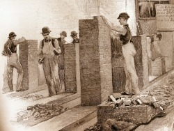 "Building Piers in the Bricklaying Room / photograph of a vintage engraving from ""The Need of Trade Schools"" by Richard T. Auchmuty / Illustrations by Irving R. Wiles / November 1886 Originally Posted: http://www.flickr.com/photos/mamluke/3830178701"