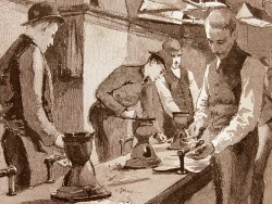 "Plumbing / photograph of a vintage engraving from ""The Need of Trade Schools"" by Richard T. Auchmuty / Illustrations by Irving R. Wiles / November 1886 Originally Posted: http://www.flickr.com/photos/mamluke/3831805095"