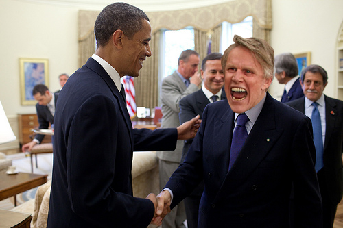 President Barack Obama says goodbye to actor Gary Busey following their meeting in the Oval Office, May 25, 2010. (Official White House photo by Pete Souza)