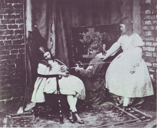 "mizenscen:  artbrutist:  Photograph by Charles Dodgson (Lewis Carroll) ""The Ghost"" (the Barry children) c. 1857"