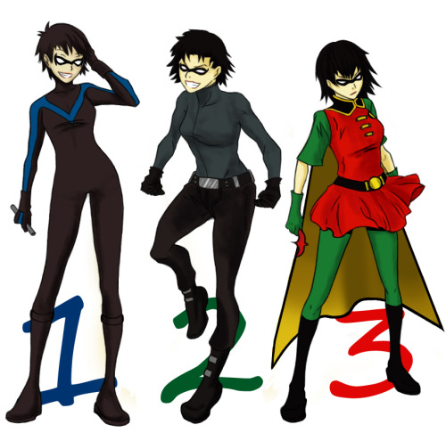 yjgenderbenttwitter:fyeahdickgrayson:Gender bended Dick Grayson spree!Jay and Tim can come too I guess.[Credit]